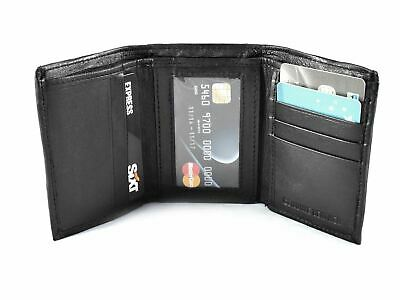 Black Leather Men's RFID Small Trifold Wallet Credit Card ID Holder Coin Purse