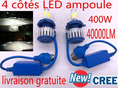 CREE LED Phare Kit 400W 40000LM Ampule Feux Voiture Lampe H4 H7 H11 Blanc 6000K