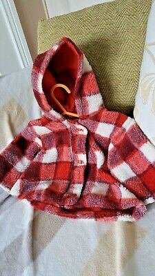 Adams Girls Fleece Checked Coat With Hood Sz 11lb