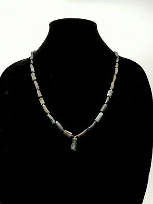 Rare Roman Ca.200 Ad Black Glass Beaded Necklace - Wearable - R826