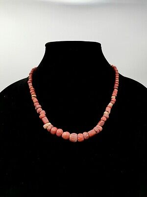 Rare Roman Ca.400 Ad Red Coral Beaded Necklace. Wearable - R 828