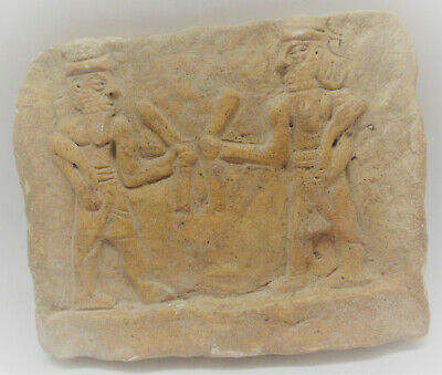 Very Rare Ancient Near Eastern Clay Tablet Worshippers Depicted 3000Bce