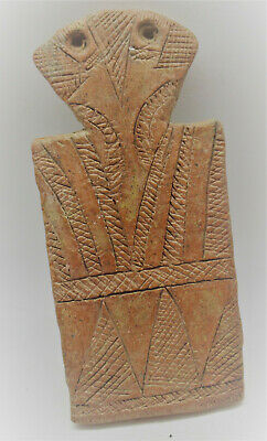 Ancient Cypriot Bronze Age Redware Terracotta 'Plank' Type Idol 2300-1600Bce
