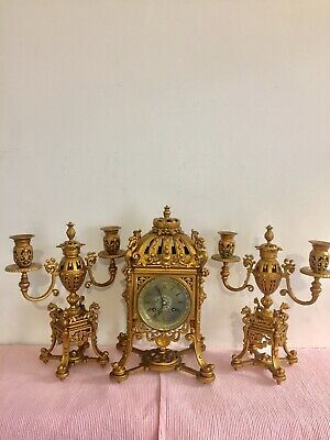Antique French Gilt Solid Bronze Clock Set Garniture By Japy!