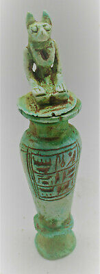 Superb Ancient Egyptian Glazed Faience Vessel With Kneeling Anubis On Top