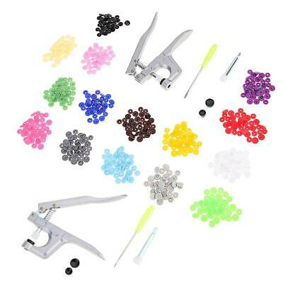 150Pcs Resin Plastic Snaps Fastener Buttons + Kam Snap Plier DIY Press Tools US