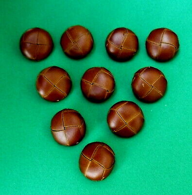 "8 x Vintage/New : 20mm LEATHER WRAPPED ""Metal Shank"" BUTTONS @ Natural BROWN"