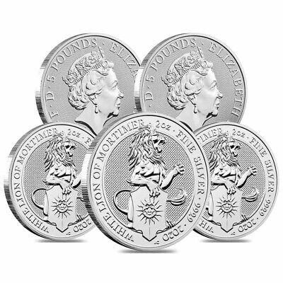 Lot of 5 - 2020 Great Britain 2 oz Silver Queen's Beasts White Lion of Mortimer