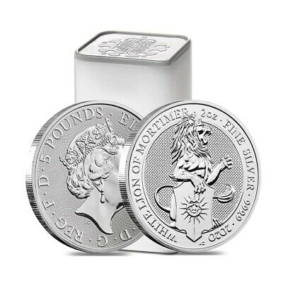 Roll of 10 -2020 Great Britain 2 oz Silver Queen's Beasts White Lion of Mortimer