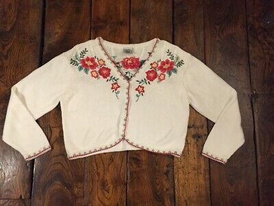 Laura Ashley Vintage Peasant Folk Embroidered Cotton Cardigan 16 14
