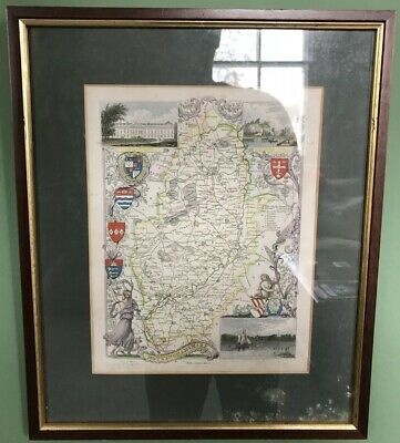 Thomas Moule c.1840 Framed Map Of Nottinghamshire Coloured Antique Sir P Main