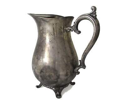 Wm Rogers Silverplate Claw Foot Water Pitcher with Ice Catcher