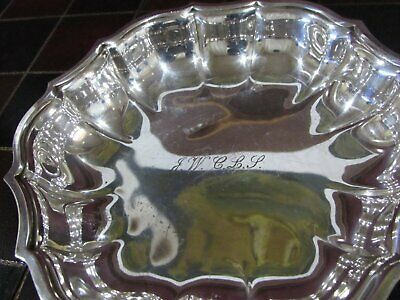 Vintage International Silver Engraved Chippendale Silverplate BonBon Bowl