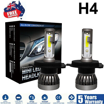 LED Headlight Pair H4 255000LM KIT White Beam Replace Xenon Halogen Globe Bulbs