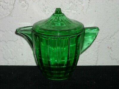 Akro Agate Large Interior Panel Sugar and Lid  Green