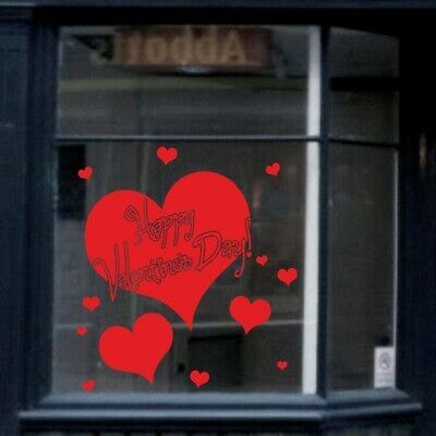 HAPPY VALENTINES DAY sticker wall vinyl decal shop window display love red vinyl