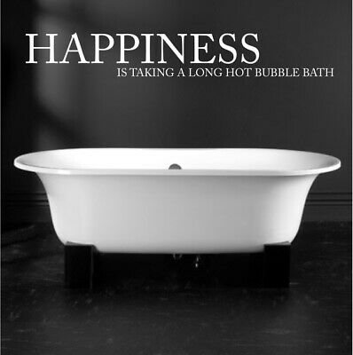 HAPPINESS IS TAKING BUBBLE BATH wall sticker bathroom quote decal vinyl