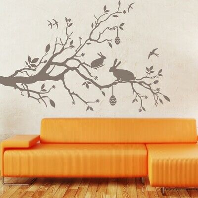 EASTER wall art sticker happy seasonal floral flower eggs decal transfer vinyl