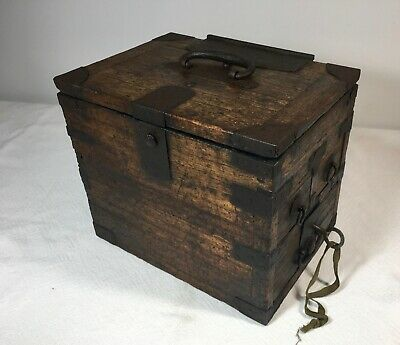 Antique Japanese Calligraphy Box With Key