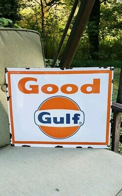 GOOD GULF gasoline porcelain sign gas pump plate vintage brand motor oil co.