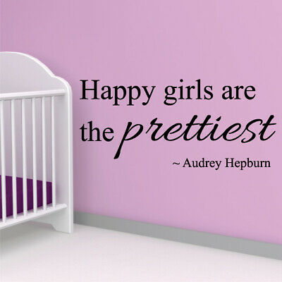 HAPPY GIRLS ARE PRETTIEST Hepburn quote wall decal bedroom stickers