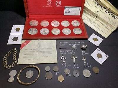 Junk Drawer Estate Lot 1969 Tunisia Sterling Silver Coins 925 Vintage Jewelry