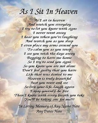 As I Sit In Heaven Prayer Personalized Art Poem Memory Gift