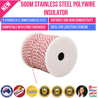 Stainless Steel Polywire Electric Fence Tape Rope 500M Energiser Polyrope