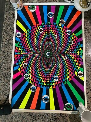 "Vtg 90 Opeye Flocked Blacklight Poster 23""x35"" Psychedelic Occult RARE 90s"
