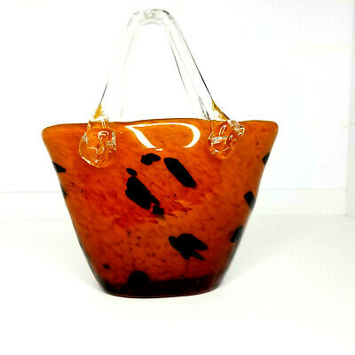"Hand Blown Art Glass Animal pattern Purse Vase Planter Heavy Flowers 9"" tall"