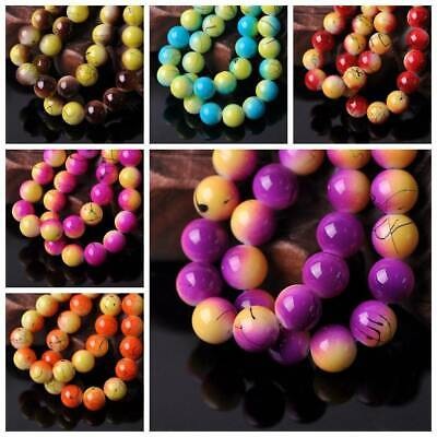10/12mm Round Strips Half Lacquered Opaque Glass Loose Beads DIY Jewelry Making