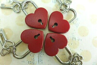 Old Antique Vintage Style Small  Padlock Key Locks - Red Color (Lot of 4) New