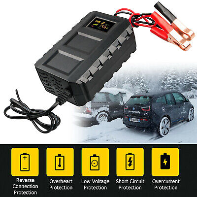 Car Battery 50Hz 20A Intelligent Charger Automobile Motorcycle LCD EUR plug