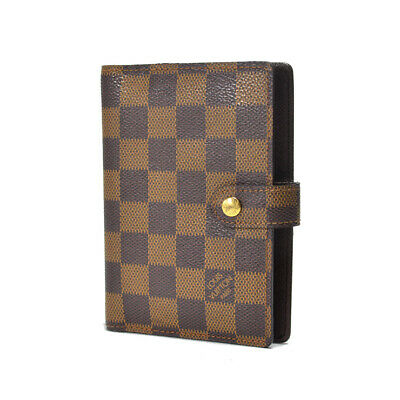 LOUIS VUITTON Damier Ebene Agenda PM R20700 Day Plannne Cover Brown Canvas