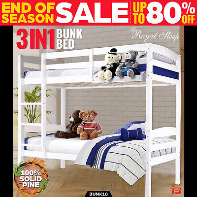 NEW BUNK BEDS Single Frame Solid Pine Children Wooden Bed ...