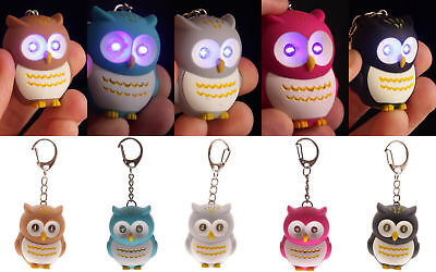 Novelty Owl Keyring with LED Torch Lights With Hooting Key Rings S4C0 Sound L4B4