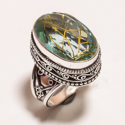 Golden Needle Rutile .925 Silver Plated Carving Ring Size-7.50 Jewelry JA620