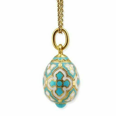 Sterling Silver Enameled Gold Gilded EGG Pendant With Cross