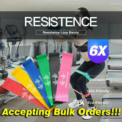 6PCS Resistance Bands Power Heavy Strength Exercise Fitness Gym Crossfit Yoga W