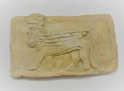 Circa 2000Bce Ancient Near Eastern Clay Panel With Depiction Of Lamassu