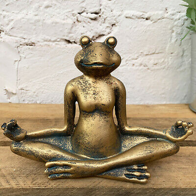 Gold Yoga Frog Toad Home Garden Decorative Ornament Sculpture Figurine Statue A