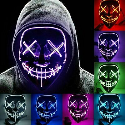 Neon Stitched Mask LED Wire Light Up Halloween-Party & Rave Purge Glow In Dark
