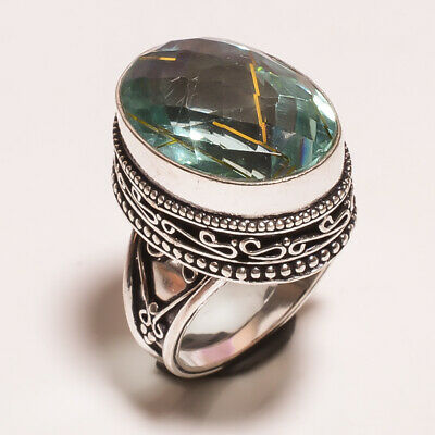Golden Needle Rutile .925 Silver Plated Hand Carving Ring Size-8 Jewelry JA615