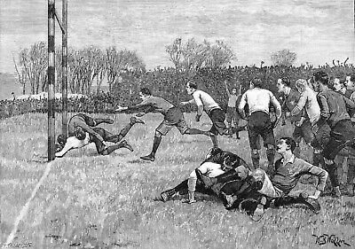 Rugby Union England v Wales 1892 7x5 Inch Reprint Print
