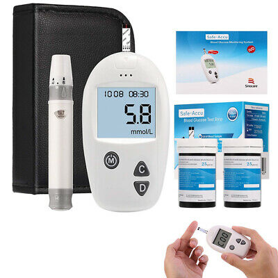Health Blood Sugar Test Monitoring Kit Glucometer System Diabetic Glucose Aid
