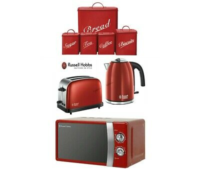 Red Russell Hobbs Colours Plus Kettle and Toaster Set + Microwave With Canisters