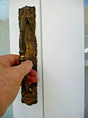 """Antique French Gilt Brass Door Handle Pull Baroque Rococo Old Chateau 10.7/8"""""""