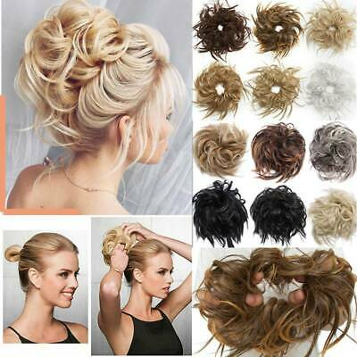 Extra Thick Messy Bun Elastic Tousle Scrunchies Hair Extension Updo Blonde Grey