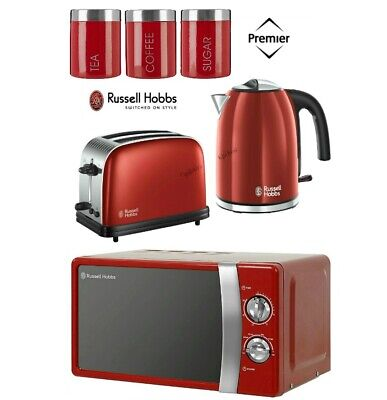Russell Hobbs Colours Plus Red Kettle and Toaster Set + Microwave With Canisters