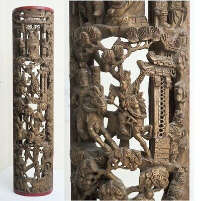 Antique Chinese Carved Bamboo Wall Plaque Scene Carving Warriors Temples Nobles
